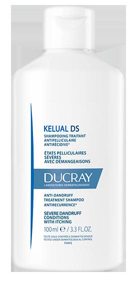 En flaske Kelual DS shampoo til rød og irriteret hovedbund med skæl og tendens til eksem