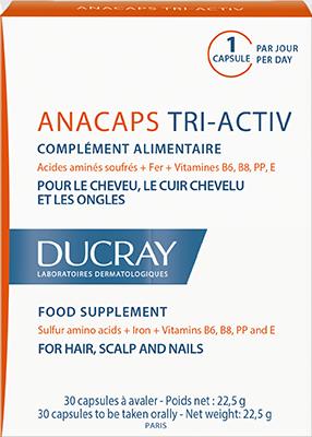 En pakke ANACAPS tri activ kost tilskud der styrker håret