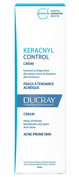 En hvid tube Keracnyl control creme til fedtet og uren hud