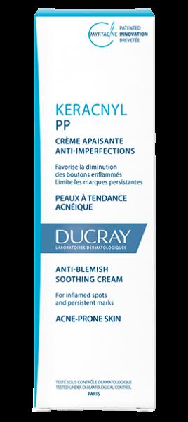 En hvid tube Keracnyl PP anti-blemish soothing cream
