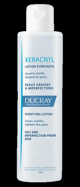 Hvid Keracnyl skin tonic flaske mod fedtet hud