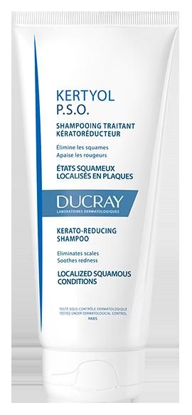En tube Kertyol P.S.O shampoo til fortykkende hornlag i hårgrænsen