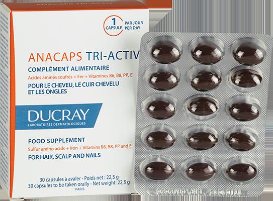 Anacaps Triactiv est un complément alimentaire pour aider à freiner la chute de cheveux et renforcer les ongles fragilisés